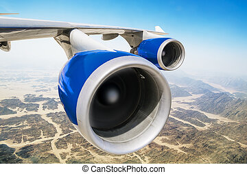 Jet engine on the wing of an aircraft