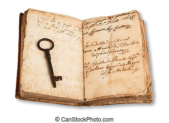 Old key and book