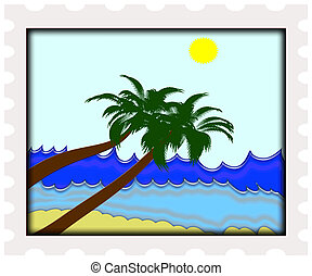post stamp - illustration of perfect ocean beach with palm...