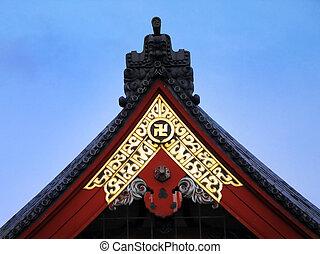 esvástica, budista, templo, japón