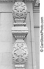 ornament on the pillars - Black and white sculpture ornament...