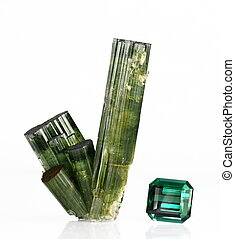Tourmaline and gemstone - A group of verdelite tourmaline...