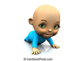 Cute cartoon baby crawling on the floor - An adorable cute...