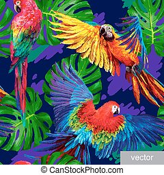 pattern with tropical parrots and monstera leafs