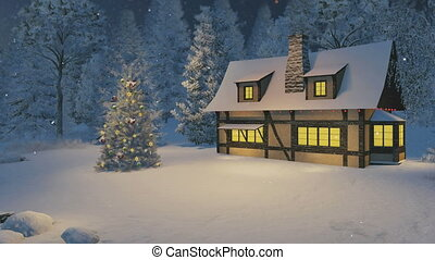 Illuminated house and Xmas tree - Christmas night scene....