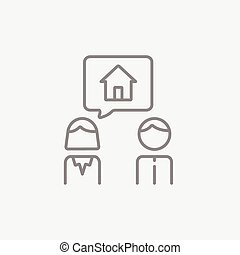 Couple dreaming about house line icon.