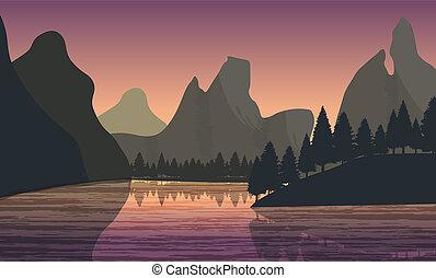 Flat landscape view - Beautiful minimalistic mountain view...
