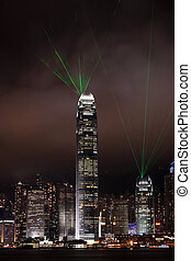 Symphony of lights show in Hong Kong at night, with green...