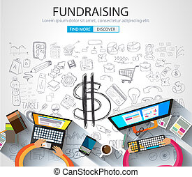 Fundraising concept with Doodle design style :finding money,...