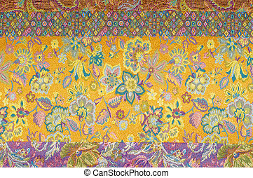 brocade fabric texture.  painted with a pattern of flowers