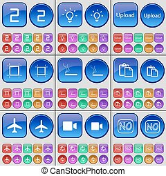 Two, Light bulb, Upload, Frame, Cigarette, Survey, Airplane, Film camera, No. A large set of multi-colored buttons. Vector