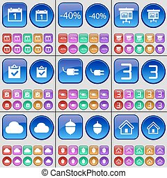 Calendar, Discount, Graph, Survey, Socket, Three, Cloud, Acorn, House. A large set of multi-colored buttons. Vector