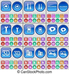Back, Temperature, Halloween, Wrench, Mobile phone, Chat bubble, 3D, Building, Picture. A large set of multi-colored buttons. Vector