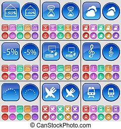 Discount, Hourglass, Cloud, PC, Clef, Star, Cutlery, Train. A large set of multi-colored buttons. Vector