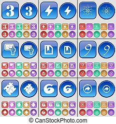 Three, Flash, Star, Graph, File, Nine, Puzzle, Six, Back. A large set of multi-colored buttons. Vector