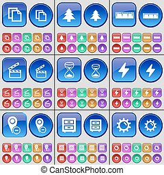Copy, Fir tree, Ruler, Clapper, Hourglass, Flash, Checkpoint, Bed table, Gear. A large set of multi-colored buttons. Vector