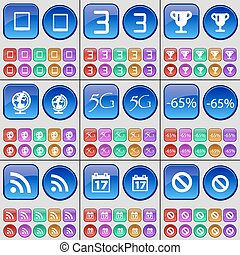 Tablet, Three, Cup, Globe, 5G, Discount, RSS, Calendar, Stop. A large set of multi-colored buttons. Vector