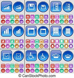 Graph, Floppy disk, Archive, Arrow down, Disabled person, Crown. A large set of multi-colored buttons. Vector