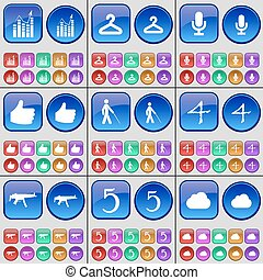 Graph, Hanger, Microphone, Hand, Silhouette, Four, Semi, Five, Cloud. A large set of multi-colored buttons. Vector