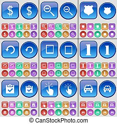 Dollar, Magnifying glass, Police badge, Reload, Tablet, One, Survey, Hand, Car. A large set of multi-colored buttons. Vector