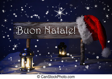 Sign Candlelight Santa Hat Buon Natale Means Merry Christmas...