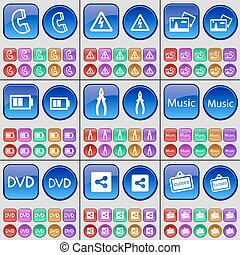 Receiver, Electicity, Picture, Battery, Pliers, Music, DVD, Share, Closed. A large set of multi-colored buttons. Vector