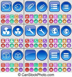 A large set of multi-colored buttons. Vector