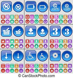 No pets allowed, Battery, Domain, Basket, Avatar, Three, Arrow down, Disabled person, Lens. A large set of multi-colored buttons. Vector