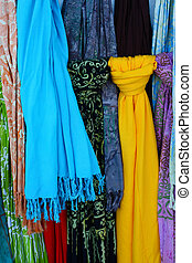 varios, colorido, bufandas, calles, Barcelona
