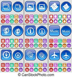 Window, Picture, Puzzle, Globe, Information, Music, Compass, Clip, Airplane. A large set of multi-colored buttons. Vector