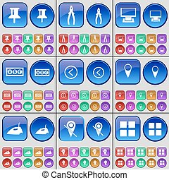 Pin, Pliers, Monitor, Currency, Arrow left, Checkpoint, Iron, Checkpoint, Apps. A large set of multi-colored buttons. Vector