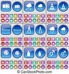 Camera, Cloud, Cone, Reserve, Pliers, Cloud, Pizza, Spray, Mars symbol. A large set of multi-colored buttons. Vector