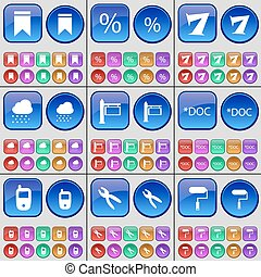 Marker, Percent, Seven, Cloud, Signpost, Document, Mobile phone, Pliers, Roller. A large set of multi-colored buttons. Vector