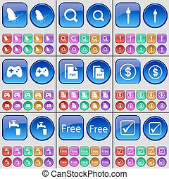 Butterfly, Magnifying glass, Pipette, Gamepad, PDF, Dollar, Tap, Free, Tick. A large set of multi-colored buttons. Vector