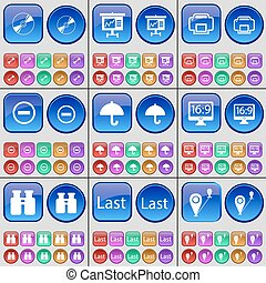 Disk, Graph, Printer, Minus, Umbrella, Monitor, Binoculars, Last, Route. A large set of multi-colored buttons. Vector