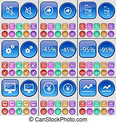 Mute, Back, Connection, Gear, Discount, Monitor, Yen, Graph. A large set of multi-colored buttons. Vector