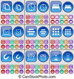 Copy, Clock, Bed, Arrow down, List, Apps, Magnet, Phone, Hourglass. A large set of multi-colored buttons. Vector