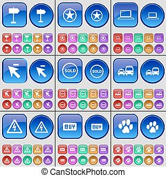 Sign, Star, Laptop, Cursor, Sold, Transport, Warning, Buy, Paw. A large set of multi-colored buttons. Vector