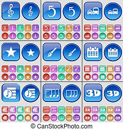 Clef, Five, Transport, Star, Brush, Calendar, Playlist, Files, 3D. A large set of multi-colored buttons. Vector