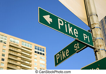 Pike place - Pike Place street sign near famous Pike Place...