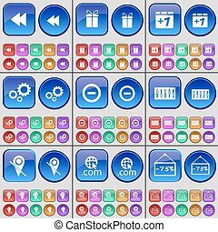 Rewind, Gift, Plus one,  Gear, Minus, Equalizer, Checkpoint, Domain, Discount. A large set of multi-colored buttons. Vector