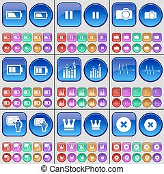 Battery, Pause, Camera, Diagram, Pulse, Graph, Crown, Stop. A large set of multi-colored buttons. Vector
