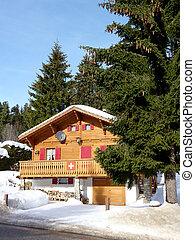 Sunny chalet in Jura mountain, Switzerland - Brown sunny...