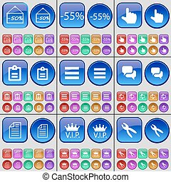 Discount, Hand, Survey, Apps, Chat, Text file, VIP, Pliers. A large set of multi-colored buttons. Vector