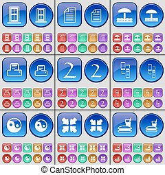 Door, Text file, Umbrella, Printer, Two, Connection, Yin-Yang, Deploying screen, Fast food. A large set of multi-colored buttons. Vector