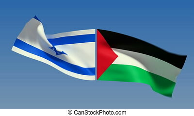 Loopable Israel and Palestine Flags Alpha channel is...