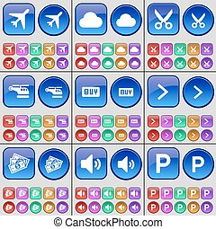 Airplane, Cloud, Scissors, Helicopter, Buy, Arrow right,...