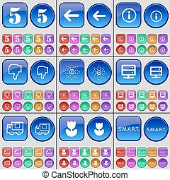 Five, Arrow left, Information, Dislike, Star, Server, Truck, Flower, Smart. A large set of multi-colored buttons. Vector