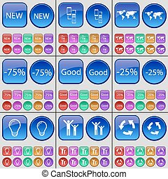 New, Connection, Globe, Discount, Good, Light bulb, Silhouette, Recycling. A large set of multi-colored buttons. Vector