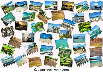 Mauritius pictures collage of different famous locations...